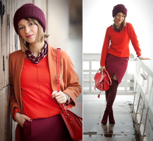 Its all about red!  (by Galant-Girl Ellena)            FOR MORE:  http://galantgirl.com/wrap-skirt-outfit-2/    #GalantGirl #DianaBroussard #OpeningCeremony #StuartWeitzman #Winteroutfit #