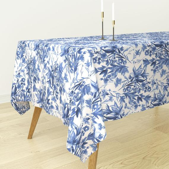 Chinoiserie Palace Willow Blue by peacoquettedesigns Toile Cotton Sateen Tablecloth by Spoonflower Chinoiserie Tablecloth