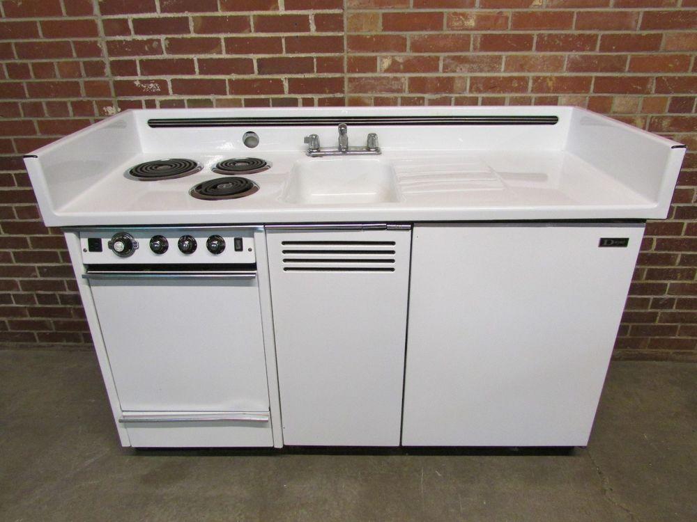 Dwyer Vintage Kitchen Kitchenette Stove Sink Refrigerator Cabinet Porcelain Dwyer First Floor Kitchen Vintage Kitchen Refrigerator Cabinet Sinks For Sale