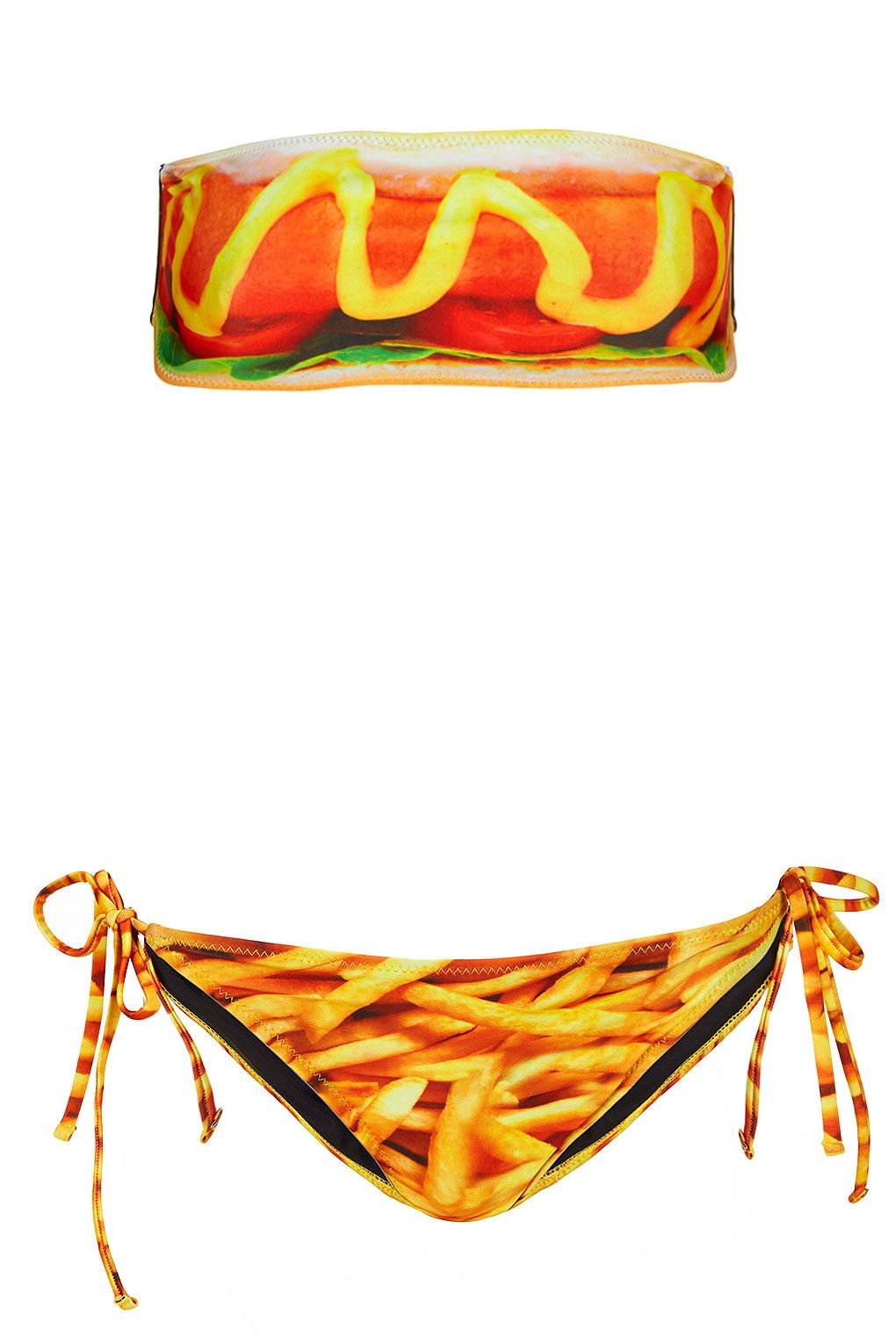 Bandeau Bikini hotdog and french fries graphic.  Too funny and neat not to share.