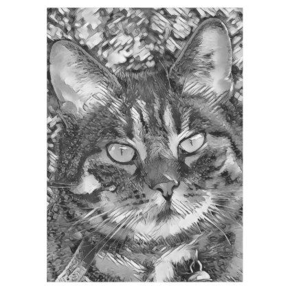 AnimalArtBW_Cat_20170903_by_JAMColors Tablecloth - portrait gifts cyo diy personalize custom