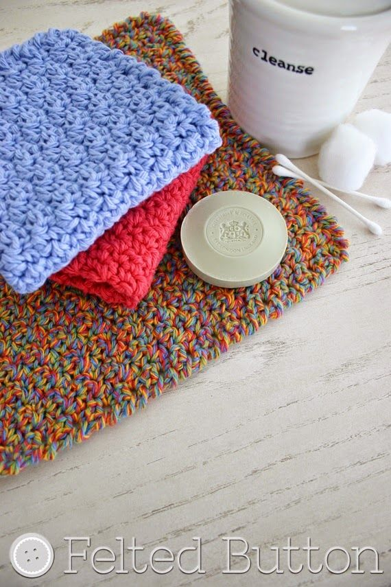 Felted Button - Colorful Crochet Patterns: Mama\'s Wash Cloths--Free ...