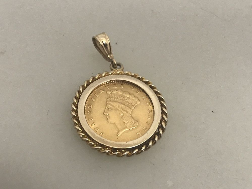 1862 1 One Dollar Gold Coin Bezel Pendant My Jewellery Gold Coins Gold