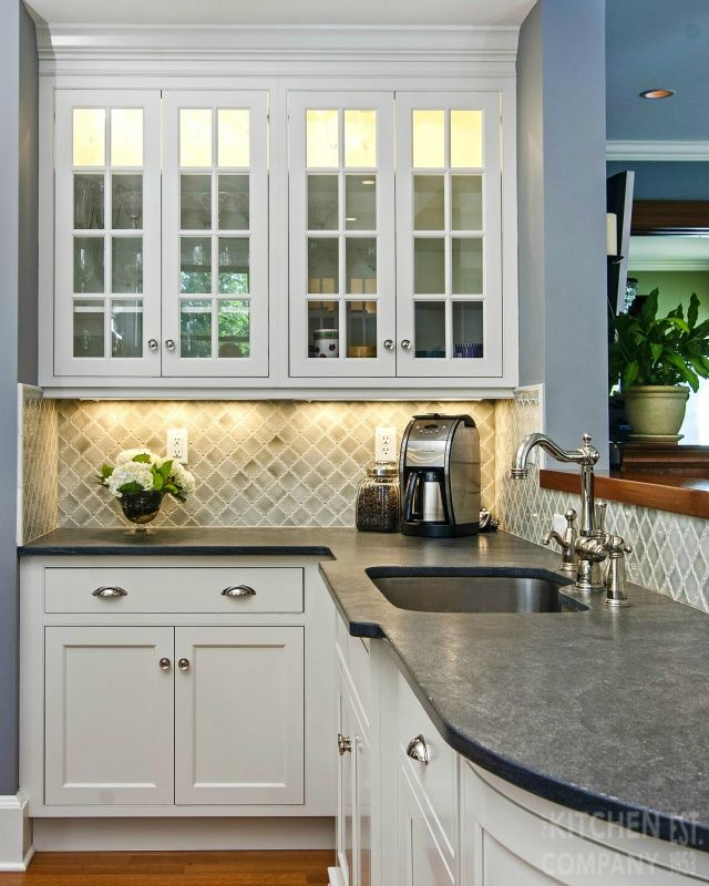 Elegant 1920u0027s Traditional Kitchen Cabinetry: Crystal Cabinets With Frosty  White Finish| Island: Maple