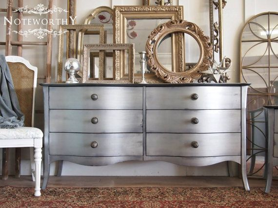 Silver Curved Front Buffet Or Dresser Matching By Noteworthyhome Silver Furniture Silver Painted Furniture Home Goods Decor