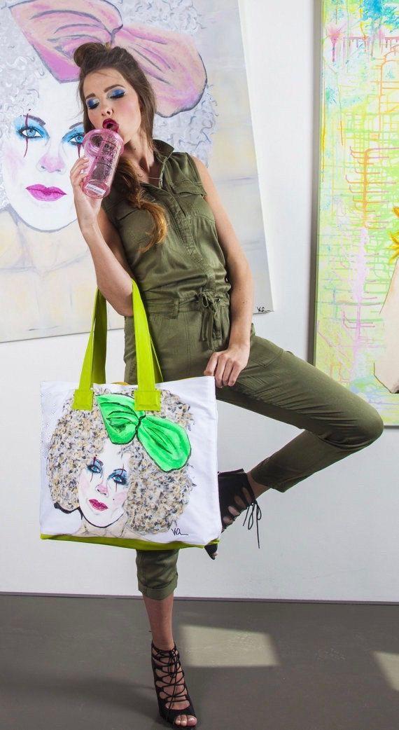 Shopping Bag mit handgemaltem Pop-Art Motiv und Innenfutter aus Kunstleder von KatysZone auf Etsy
