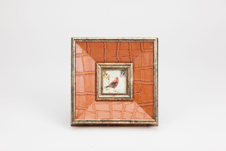 Moldura Croco Laranja 6 x 6 cm | A Loja do Gato Preto | #alojadogatopreto | #shoponline | referência 124066436