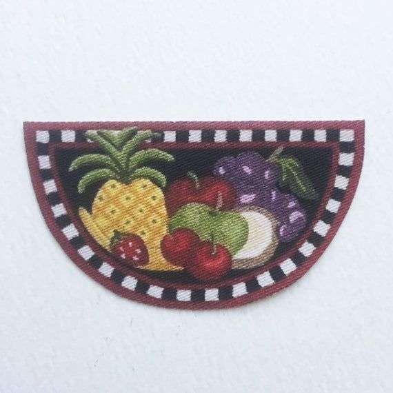 Dollhouse Miniature Kitchen Rug With Colorful Fruit 1:12 or Half Scale #miniaturekitchen