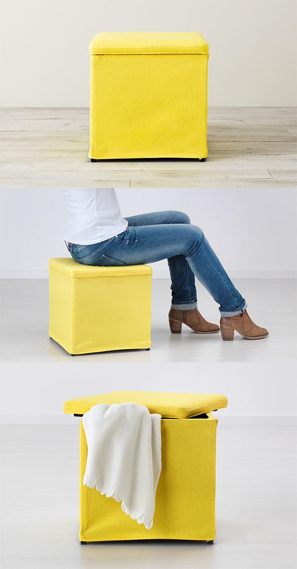 Bosnas Ottoman With Storage Ransta Yellow Ikea In 2020 Storage Ottoman Bedroom Storage Storage Footstool