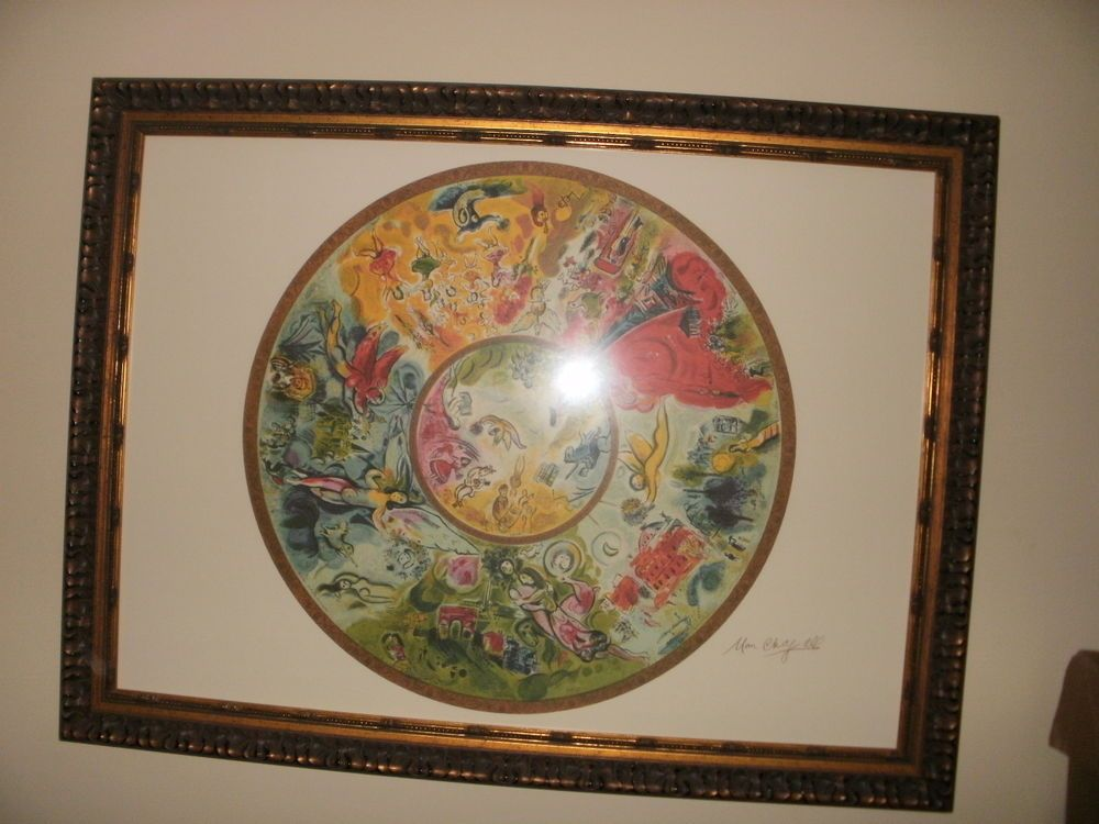 Marc Chagall Paris Opera Ceiling Print Copy Signed Framed