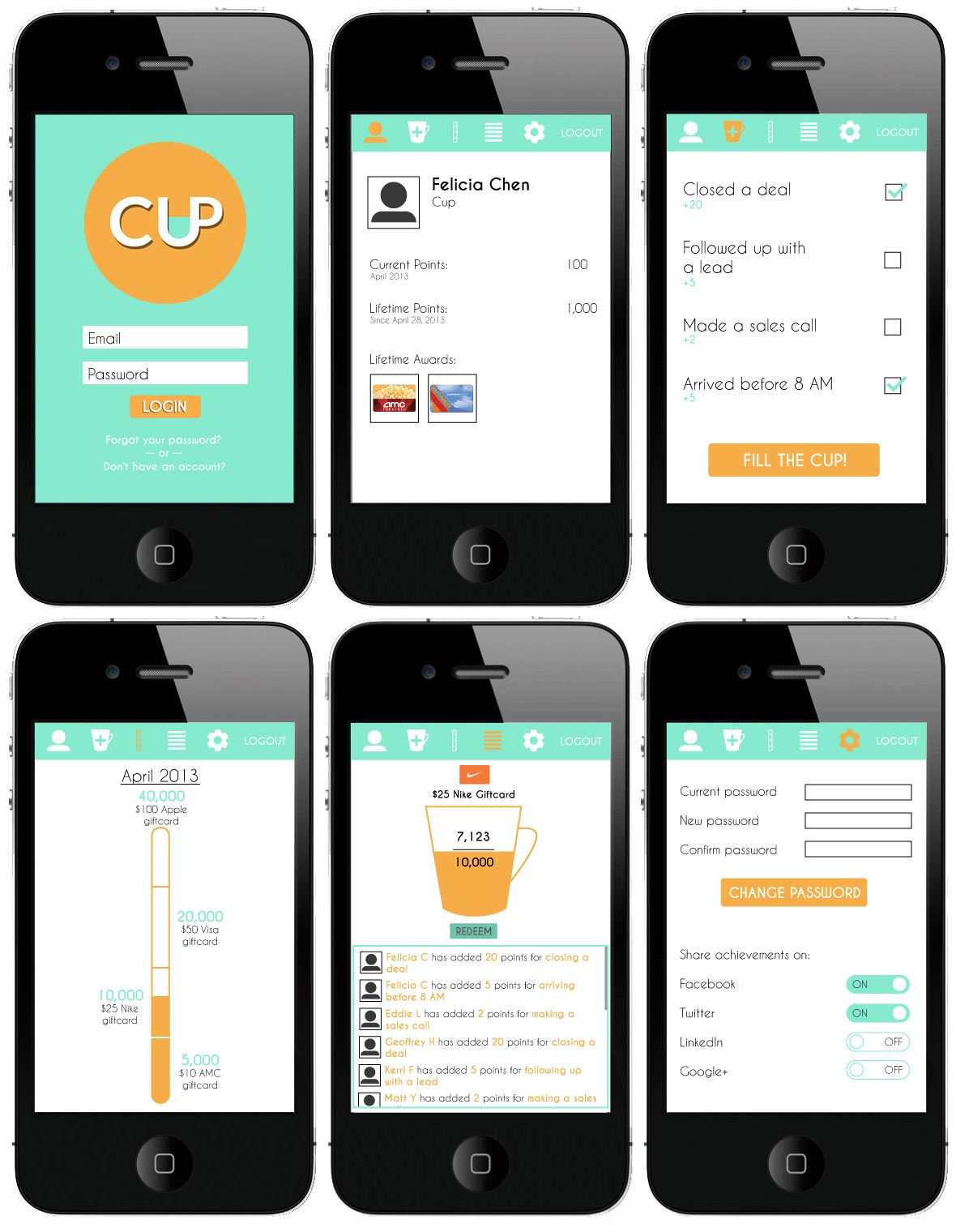 Mockup example for research. Mobile application, Mobile