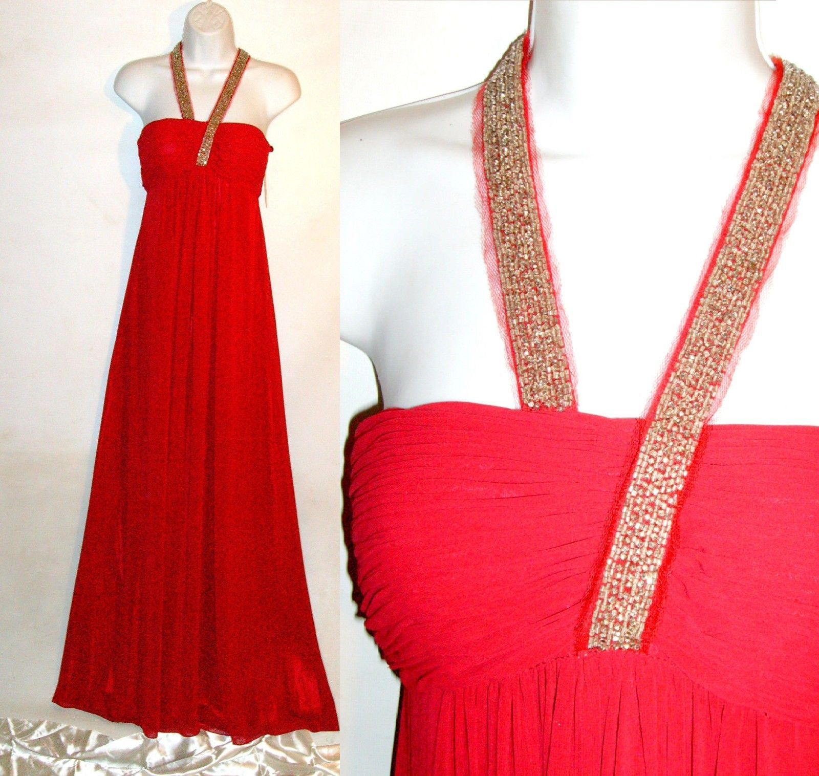 Cool amazing nwt jdo red gown beaded formal chiffon satin evening
