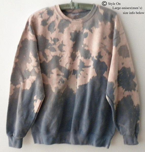 Blue Sweatshirt, Crewneck Sweatshirt, grunge, acid wash Sweatshirt, dip dye, Hipster, Extra Large, Pink, rocker, tie dye