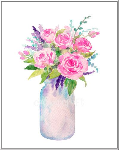 Hand Painted Watercolour Vase Of Flowers Mason Jars Digital