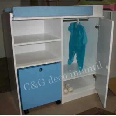 Mueble Cambiadorp/bebes Con Cubo Juguetero Y Ropero Infantil