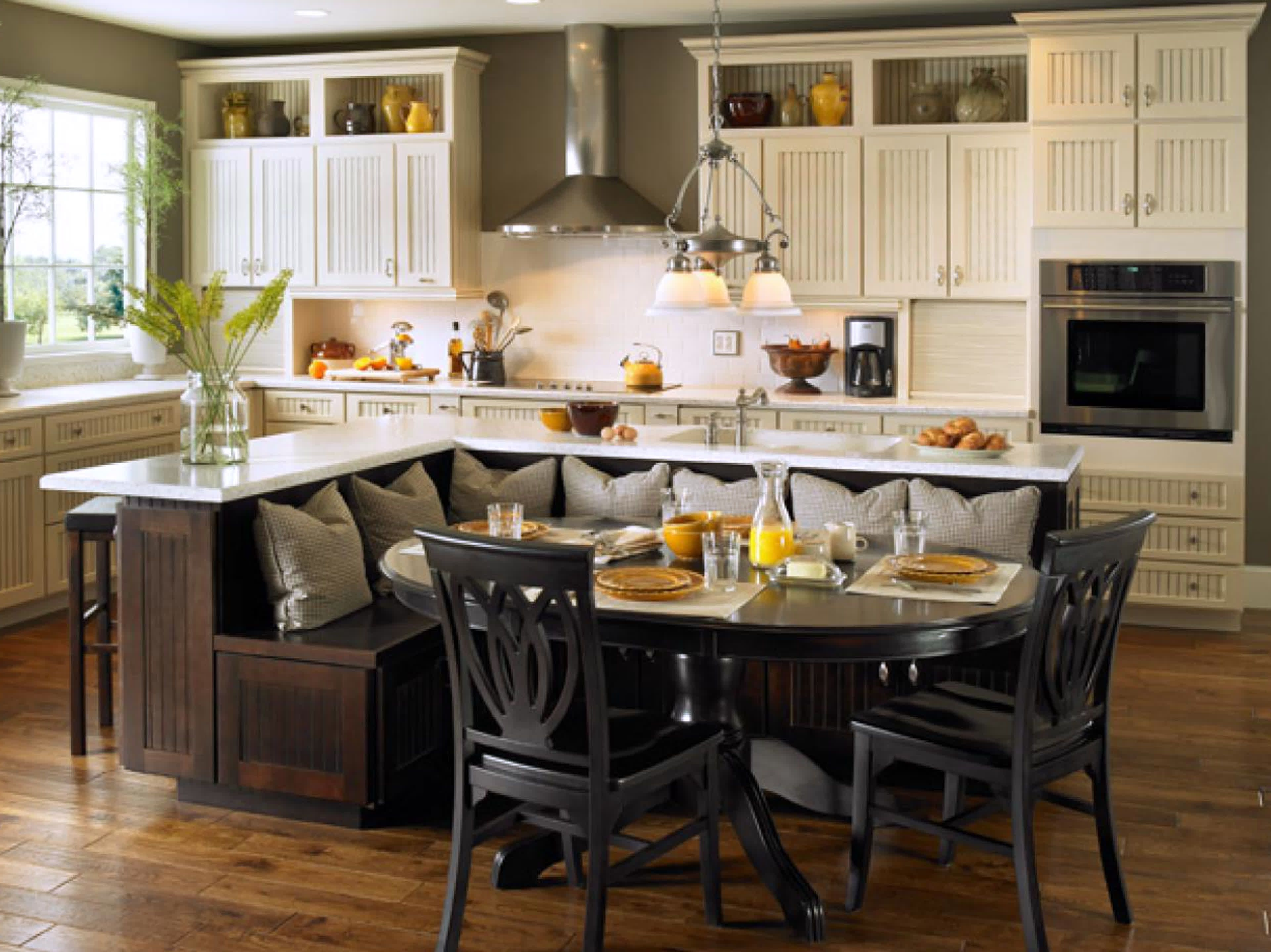 A kitchen island with built in seating is a great option if you