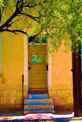 Colorfull Door Of An Adobe Home In Tucson Arizona Adobe House Doors Cool Doors