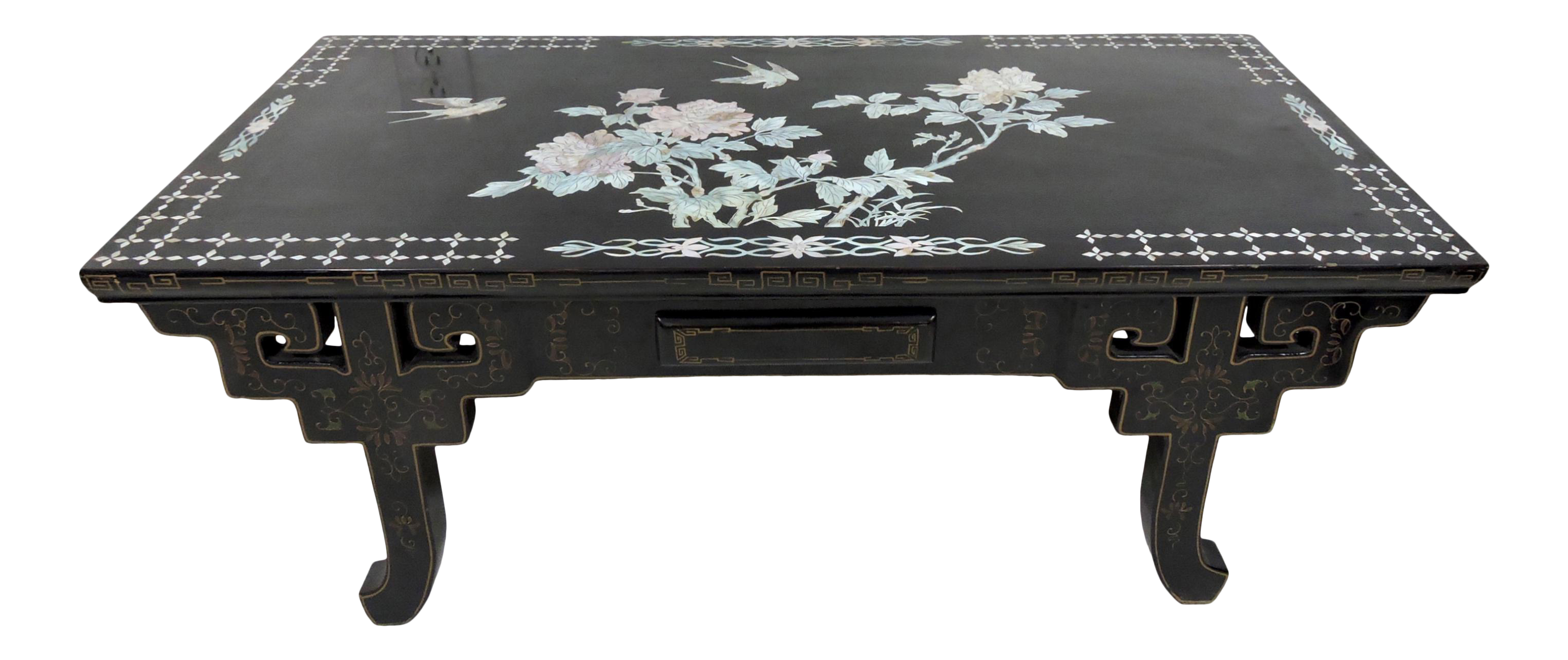 20th Century Chinese Black Lacquer And Mother Of Pearl