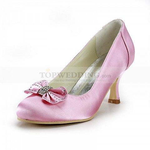 Round Toes Pink Satin Mid Heel Wedding Shoes with Rhinestone Bow