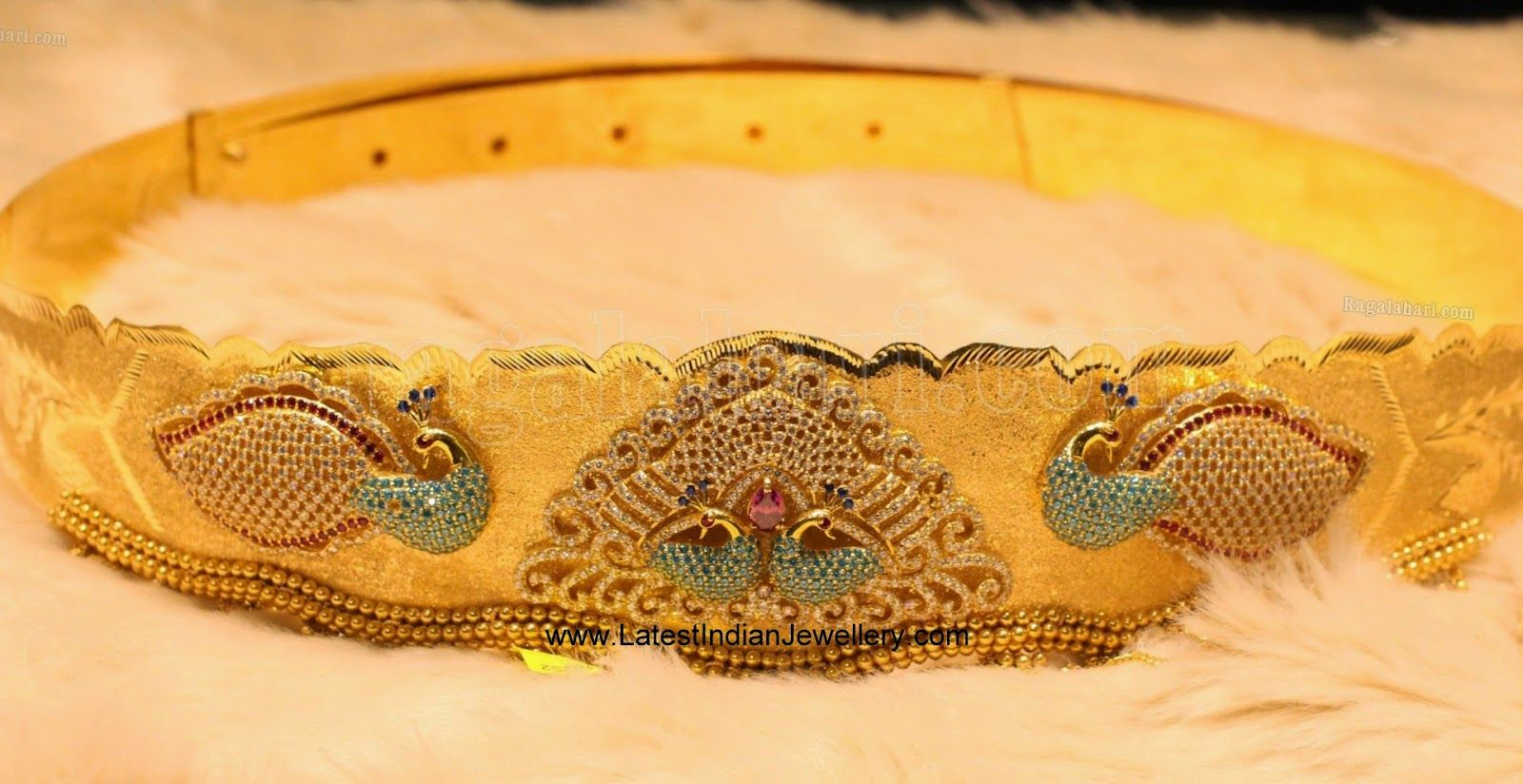 Gold vaddanam oddiyanam kammarpatta waisbelt designs south indian - Peacock Design Gold Vaddanam