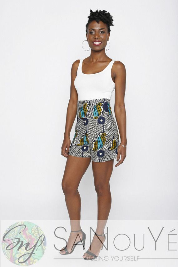 sélectionner pour l'original doux et léger officiel Short taille haute en wax | Mode Africaine | Shorts taille ...