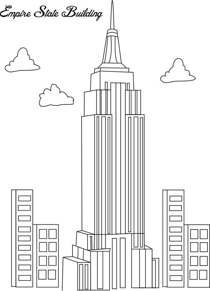 Coloring Pages Empire State Building Empire State Building Drawing Building Drawing Coloring Pages