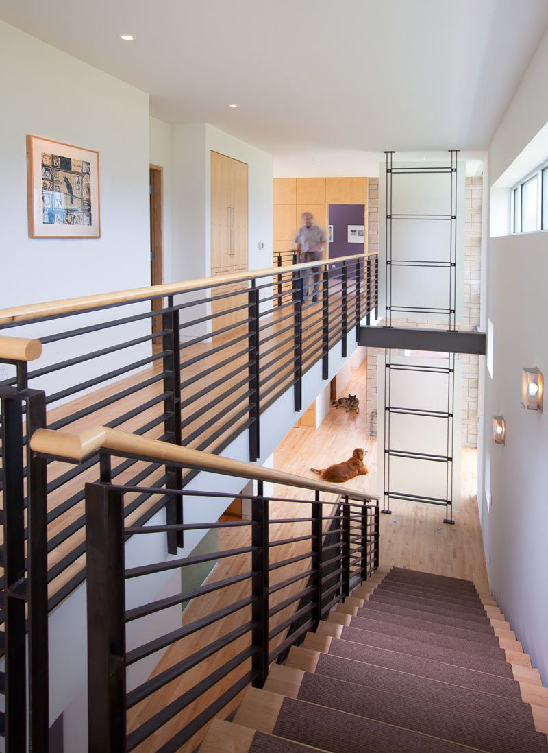 Contemporary Interior STAIR Railings Oak Stainless Steel - Contemporary stair railing banister
