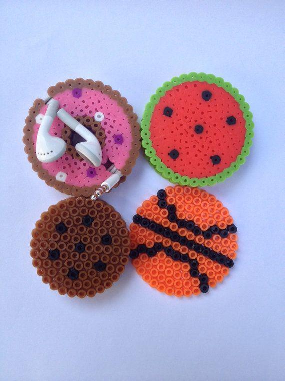 Earbud holder perler bead watermelon donut by infiniteyouthjewelry