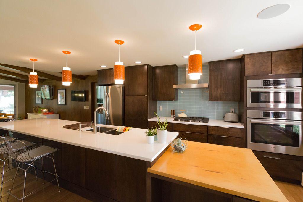 Best A Midcentury Modern Inspired Kitchen Walnut Cabients 400 x 300