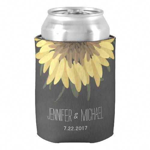 Wedding Venues Near Me Cheap: Sunflower Chalkboard Rustic Wedding Can Cooler