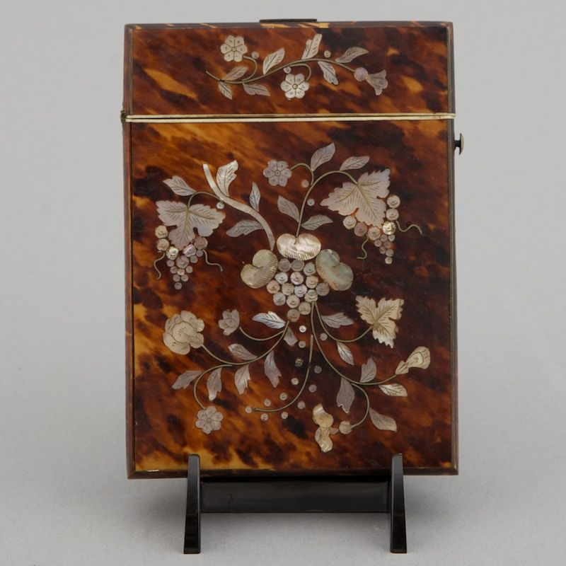 English tortoise shell and mother of pearl card case