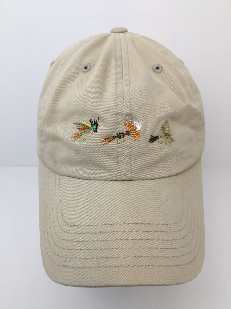Trout Unlimited Fly Fishing Hat Cap Three Embroidered Flies Khaki  Adjustable  TroutUnlimited  BaseballCap 95ddc8ceab8c