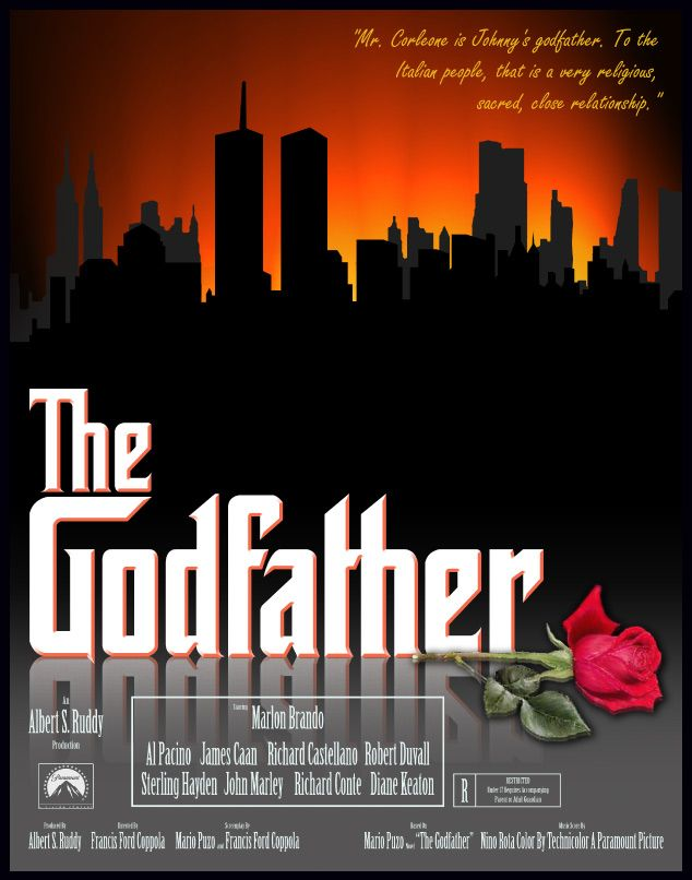The Godfather - Alternative movie poster featuring the New York skyline #GangsterMovie #GangsterFlick