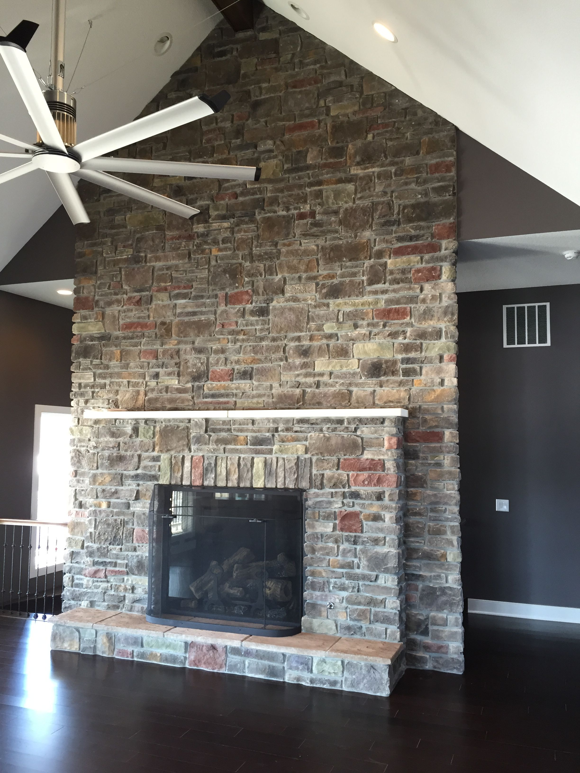 Gorgeous Ceiling high Stoned Fireplace with Hearth and mantle. Dakota Cut Cobble and Laytite Blend. J\u0026N Stone & Gorgeous Ceiling high Stoned Fireplace with Hearth and mantle ...