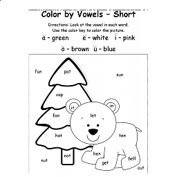 Polar Animals Color By Vowel Short 4 Printable Sheets Short Vowel Reading Holiday Subjects Winter Classroom Polar Animals Short Vowels