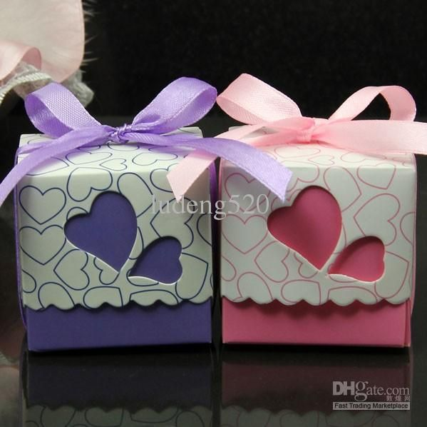 Wholesale Candy Boxes Buy Ribbons Included Wedding Favor Candy Boxes Pink And Purple Co Wedding Favor Boxes Diy Candy Wedding Favors Gifts For Wedding Party