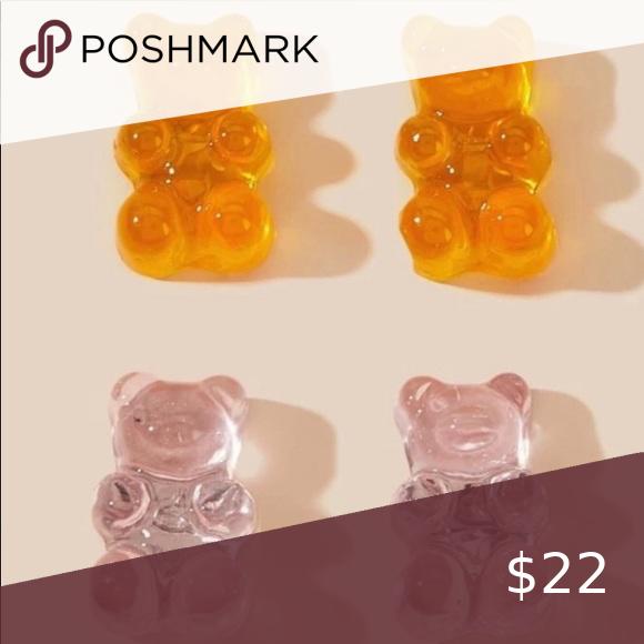 Pink Orange 2 Set Gummy Bears Stud Earrings Earings Piercings Boutique Set Pink And Orange