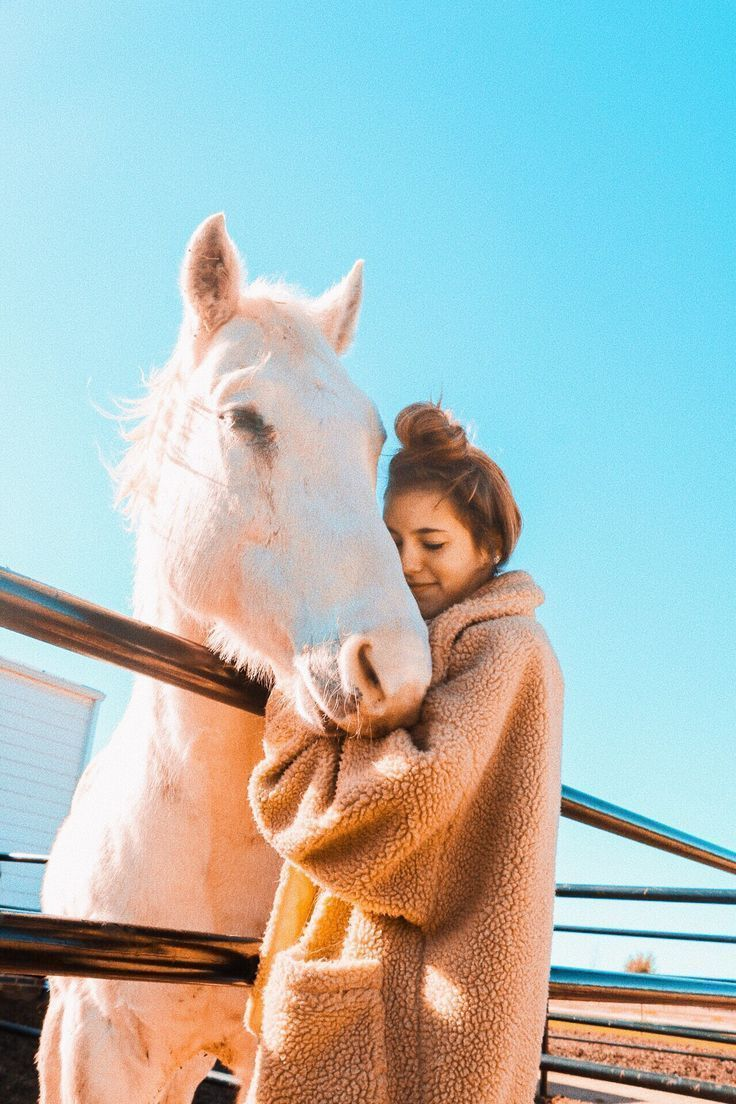 Horsey hug Girl hugging grey horse The Effective Pictures We Offer You About cu... - Spring Nails