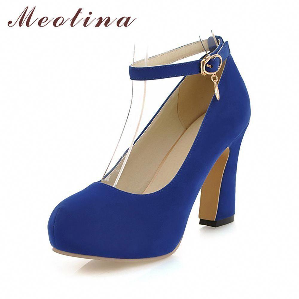 ec4c9d13d156 Meotina Shoes Women High Heels Chunky High Heels Platform Shoes Pumps Ankle  Strap Ladies Shoes Dress