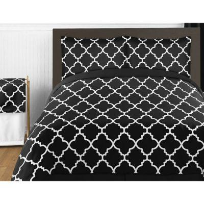 Sweet Jojo Designs Trellis 4 Piece Twin Comforter Set In Black And