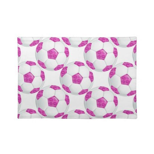 Pink Lipstick Kisses Pink Soccer Ball 100% Woven Cotton Placemats to match the Napkins.