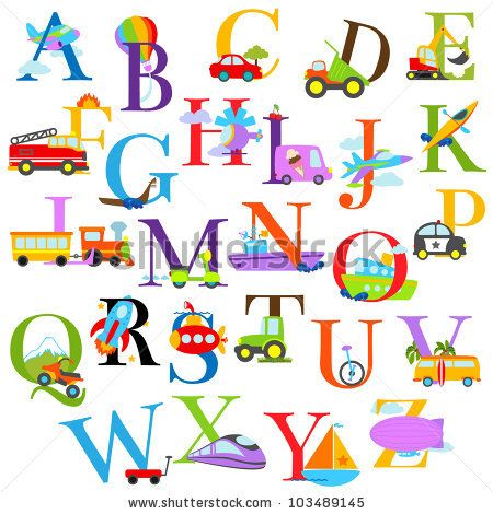 Shutterstock Stock Vector  Vector Transportation Themed Alphabet