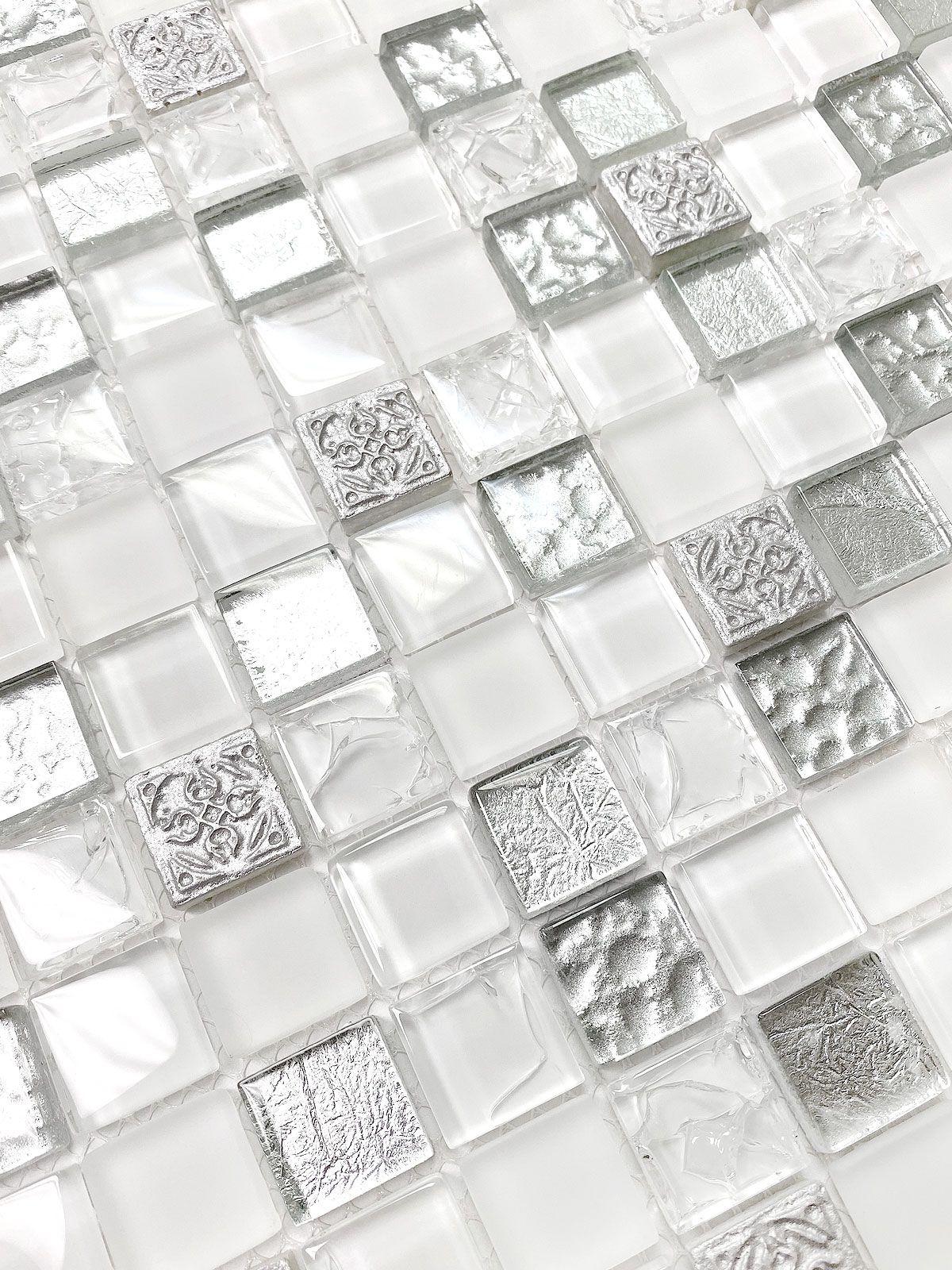 White Silver Color Elegant Glass Backsplash Tile Backsplash Com Tile Backsplash Kitchen Backsplash Glass Backsplash