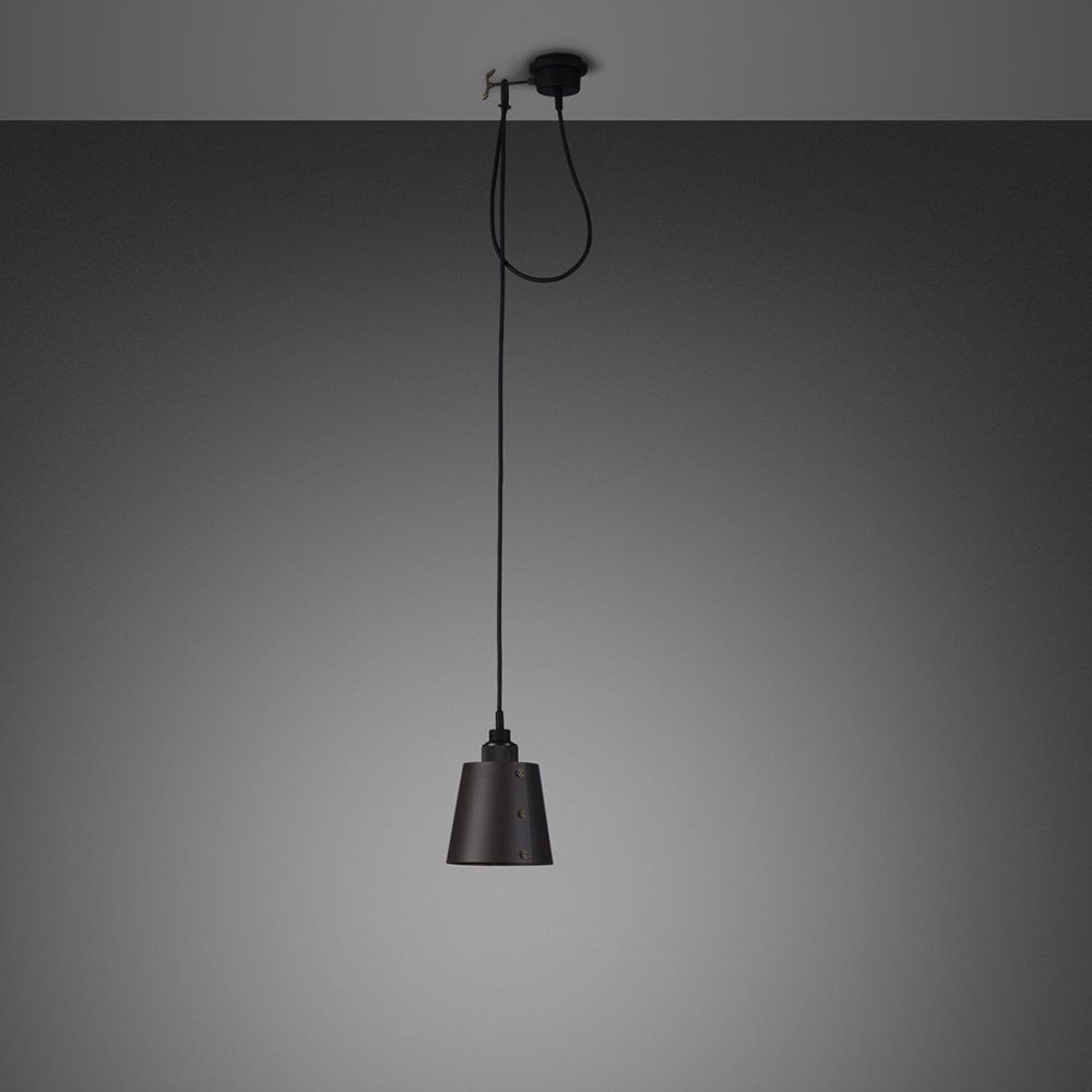 A single light pendant with a small lampshade and customising hook
