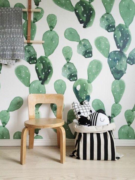 Hervorragend Wanddekoration DIY Grüne Kakteen Selbst Malen Holzstuhl Im Kinderzimmer