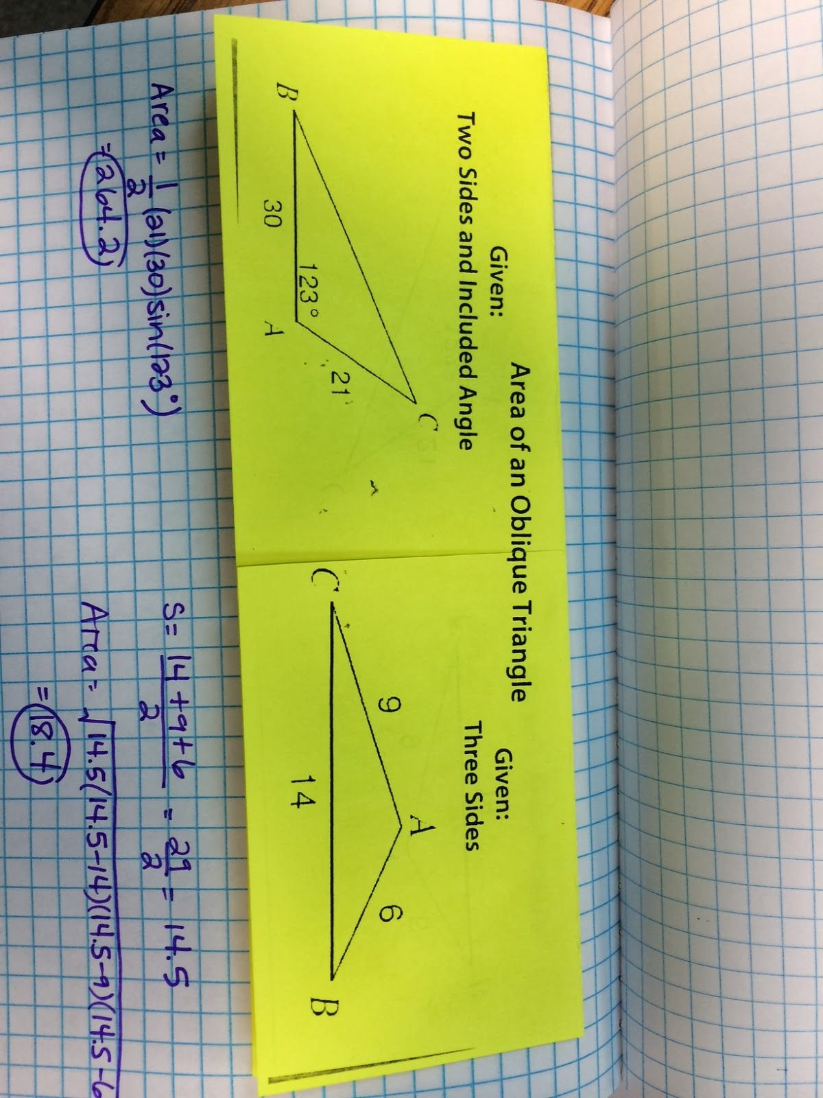 The Agony And Dx Dt Area Of Oblique Triangles Foldable