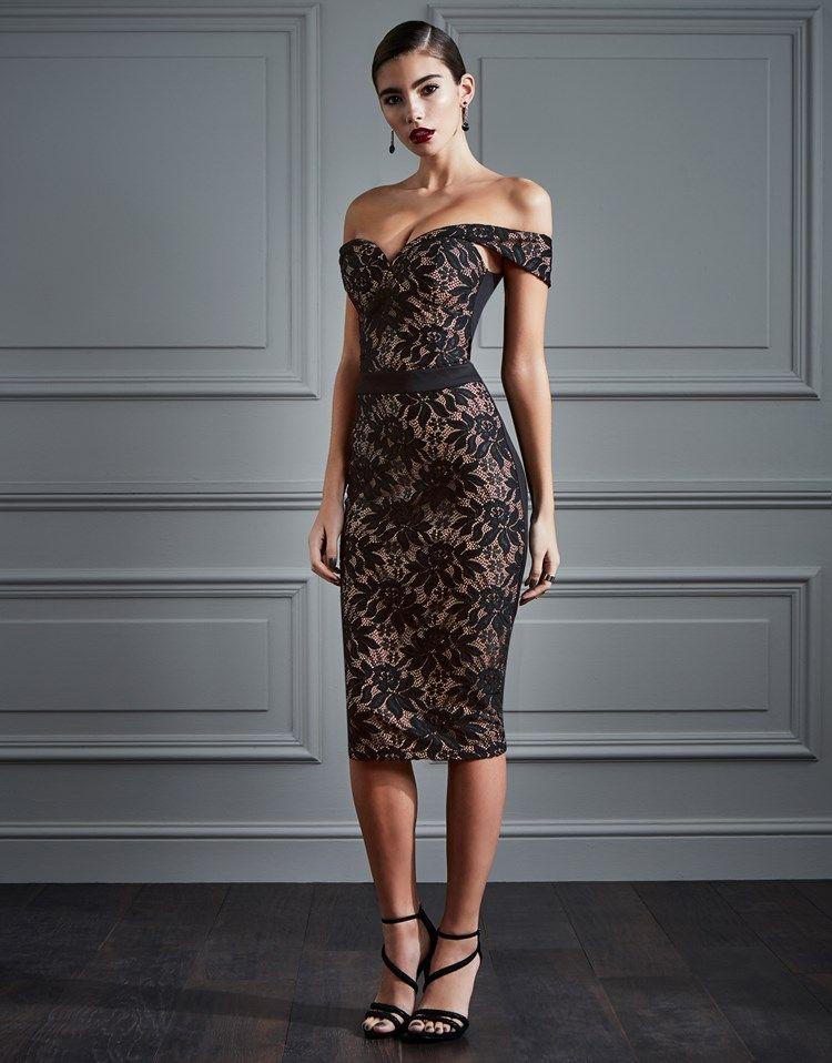 Bardot lace bubble dress lady