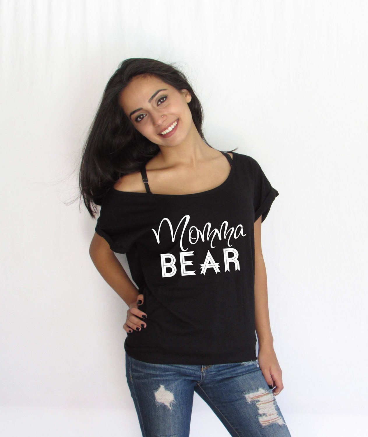A personal favorite from my Etsy shop https://www.etsy.com/listing/504291522/mama-bear-off-shoulder-loose-t-shirt