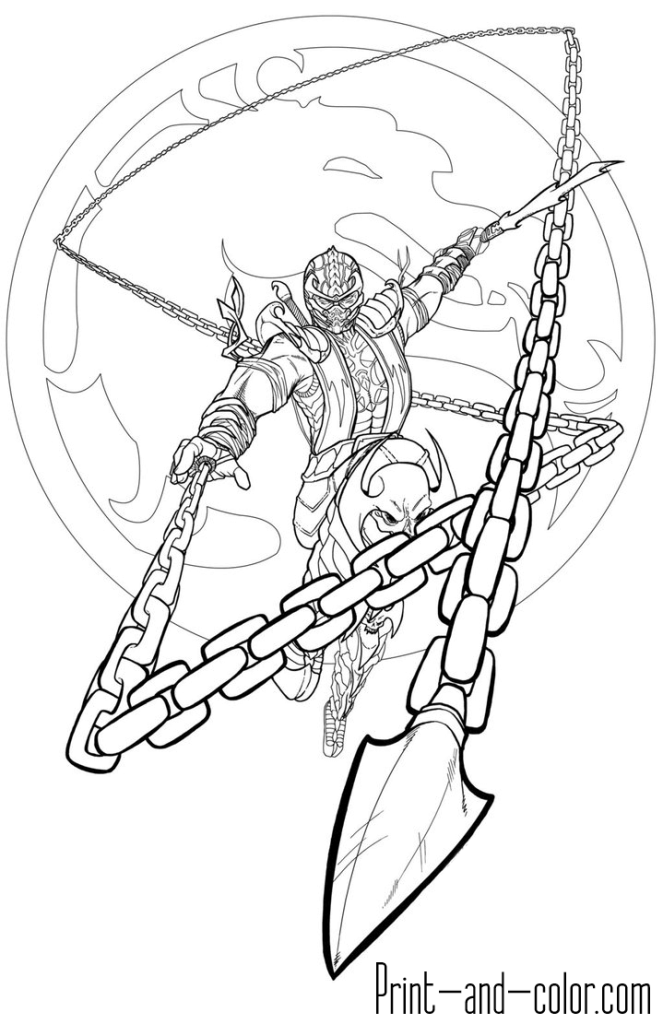 Mortal Kombat Coloring Page Scorpion 3 Mortal Kombat Art Mortal Kombat Mortal Kombat Tattoo