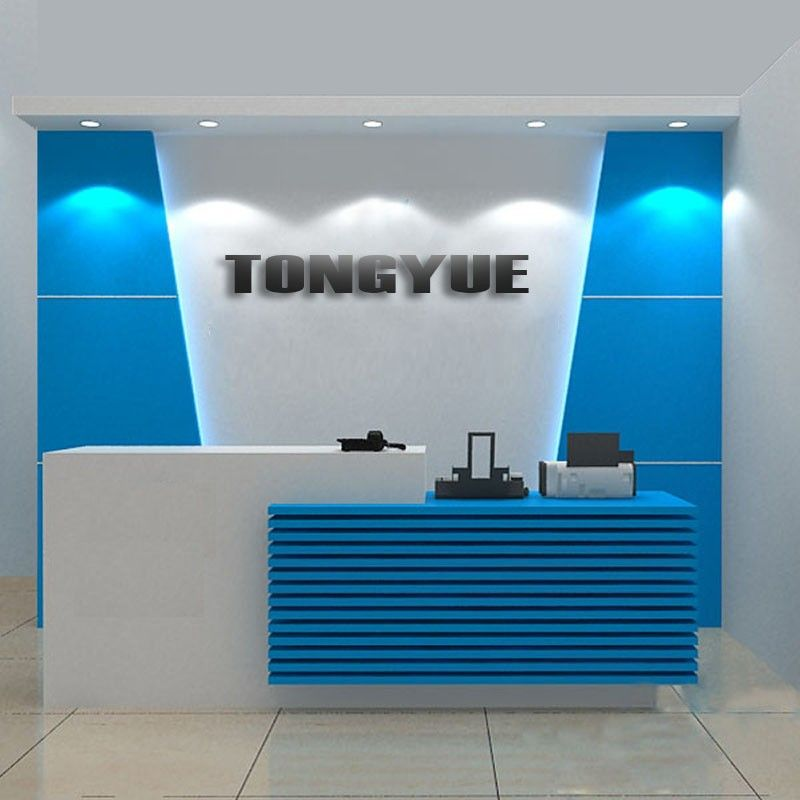High gloss white contemporary office reception desk for Modern office reception backdrop design